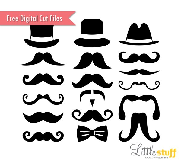 LittleStuff.me: Mustaches and Top Hats Digital Cut Files